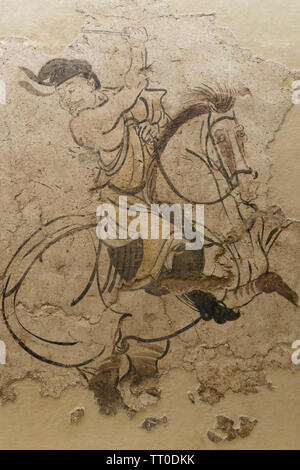 Part of a mural, Two Polo Players, from the tomb of Li Yong, Tang dynasty (618-907 CE) - Stock Image