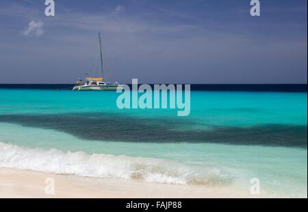 A Sailboat on Klein Curacao, Curacao - Stock Image