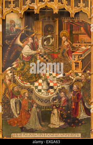 CORDOBA, SPAIN - MAY 28, 2015: The medieval paint of Annunciation by Diego Sanchez de Castro (1463) on the side - Stock Image