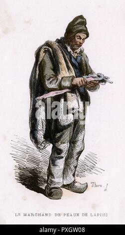A rabbitskin seller.        Date: 1850 - Stock Image