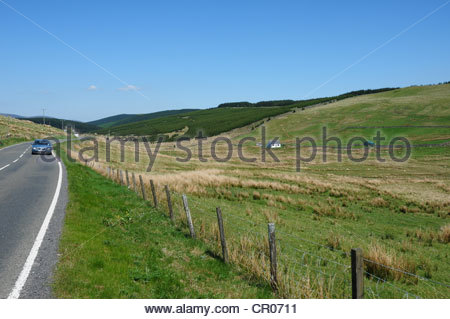 View of countryside of the source of the River Tweed which is by the A701 road linking Moffat and Edinburgh - Stock Image