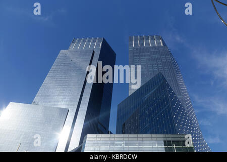 Time Warner Center glass towers in midtown Manhattan, Columbus Circle, New York City, a residential building and - Stock Image