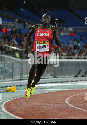 YOKOHAMA, JAPAN - MAY 12: Mike Mokamba of Kenya in the mens 4x200m relay final during Day 2 of the 2019 IAAF World Relay Championships at the Nissan Stadium on Sunday May 12, 2019 in Yokohama, Japan. (Photo by Roger Sedres for the IAAF) - Stock Image