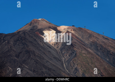 Mount Teide, Tenerife, Canary Islands. Caldera and Cable Car to the Top of the Volcano. - Stock Image