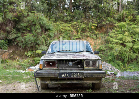Old abandoned rotting and rusting Swedish Volvo 200 series estate car. - Stock Image