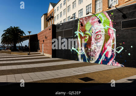 Street art on a wall at the Port of Newcastle in New South Wales, Australia. - Stock Image