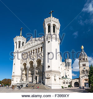 Notre-Dame de Fourviere basilica on the Fourvière hill in Lyon (France) - Stock Image