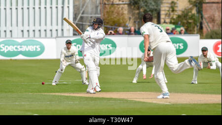 Hove Sussex, UK. 05th Apr, 2019. Stiaan van Zyl of Sussex is bowled by Chris Wright of Leicestershirein the Specasavers County Championship Division Two match at the 1st Central County Ground in Hove on a sunny but cool first morning of the season Credit: Simon Dack/Alamy Live News - Stock Image