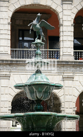 Water Fountain at the National Presidential Palace, Zocalo Square, Plaza de la Constitucion, Mexico City, Mexico - Stock Image