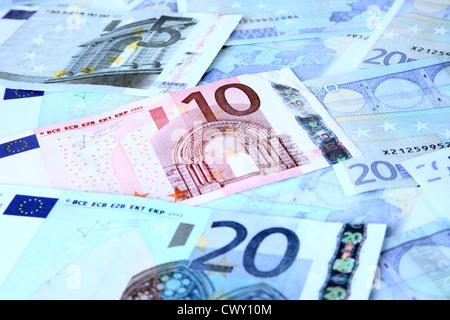 €5 and €10 €20 Euro Notes. - Stock Image