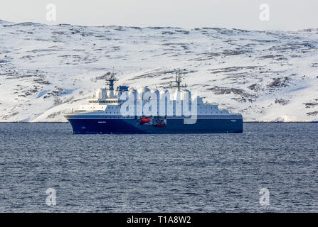 The FS Margate, a purpose-built electronic intelligence collection vessel, from Norway, near the port town of Kirkenes in Norway. - Stock Image