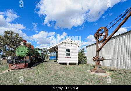 Historic Injune Railway Station, 1920-1967, used to service the farming and coal mining industries. South West Queensland, QLD, Australia - Stock Image