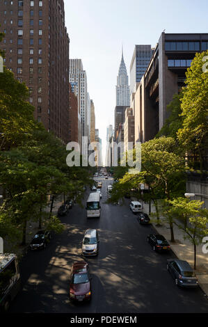 View of 42nd street from East to West - Stock Image