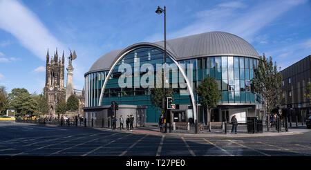 Newcastle-upon-Tyne, NE England city. Haymarket Metro Station, public transport underground subway rail. - Stock Image
