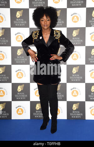 LONDON, UK. March 19, 2019: Rachel Adedeji arriving for the Royal Television Society Awards 2019 at the Grosvenor House Hotel, London. Picture: Steve Vas/Featureflash Credit: Paul Smith/Alamy Live News - Stock Image