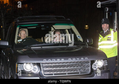 London, UK. 20th March, 2019. Margaret Beckett, Labour MP for Derby South, leaves the House of Commons on the evening that Prime Minister Theresa May was meeting Opposition leaders to discuss extending Article 50 before travelling to Brussels tomorrow for an EU summit. Credit: Mark Kerrison/Alamy Live News - Stock Image