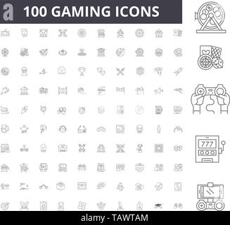 Gaming line icons, signs, vector set, outline illustration concept  - Stock Image