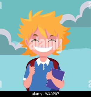school boy with bag in the outdoors vector illustration - Stock Image