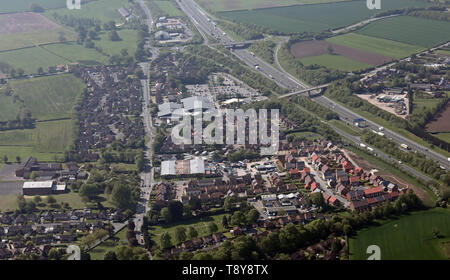 aerial view of the southern end of Boroughbridge town in North Yorkshire - Stock Image