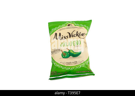 A bag of Miss Vickies Jalapeno Potato Chips on a white background - Stock Image