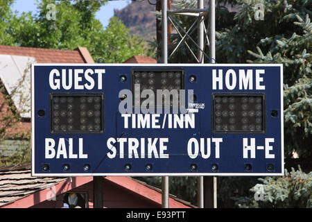 A score board used for little league baseball games - Stock Image
