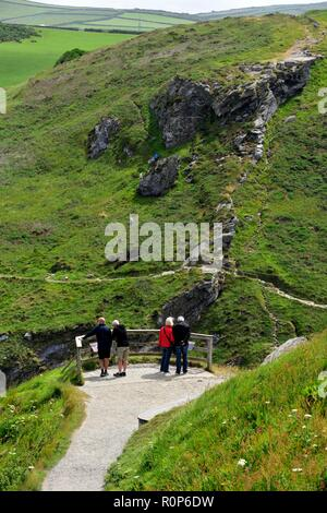 Tourist view point,Tintagel castle island peninsular,Cornwall,England,UK - Stock Image