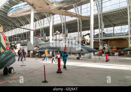McDonnell Douglas RF-4C Phantom II No 68-0590 jet fighter and other aircraft in the Brussels Air Museum. - Stock Image