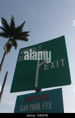 A directional Signage showing the way to the Airport. - Stock Image