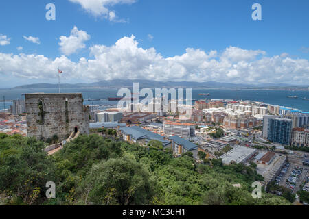 GIBRALTAR, SPAIN: 12-MAY 2017: The view of Gibraltar from up the Rock in May 2017. - Stock Image