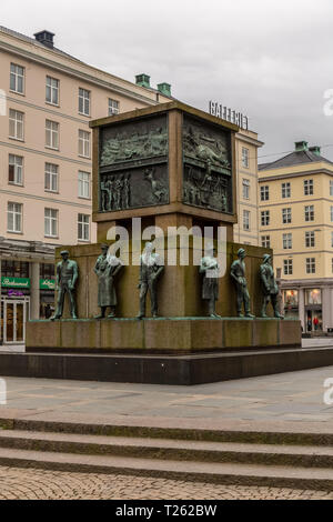 The Seamen's Monument in the centre of Bergen, Norway. - Stock Image