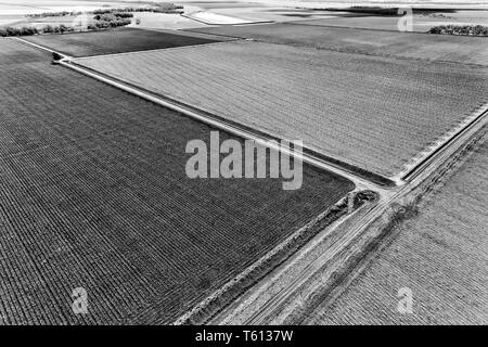Patches of black  soil on flat plains around Moree in Narrabri shire of rural northern NSW part of artesian basin of Australia - elevated aerial view  - Stock Image