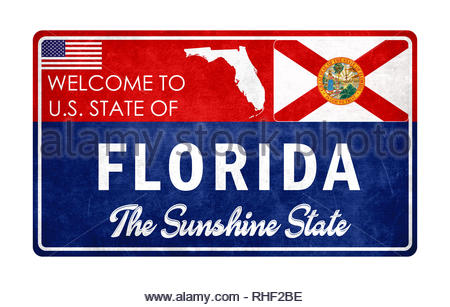 Welcome to Florida - grunge sign - Stock Image