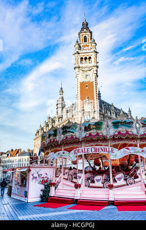 Carousel in the centre of Lille,be - Stock Image