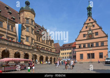 The City Hall Square and the Market Square in medieval Rothenburg ob der Tauber, Franconia, Bavaria, Germany. - Stock Image