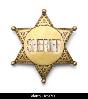 Brass Sheriff Badge Isolated on White Background. - Stock Image
