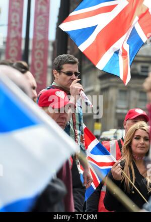 Tommy Robinson speaking at the AUOB Scottish Independence march in George Square, Glasgow, Scotland, UK on 4th May 2019 - Stock Image