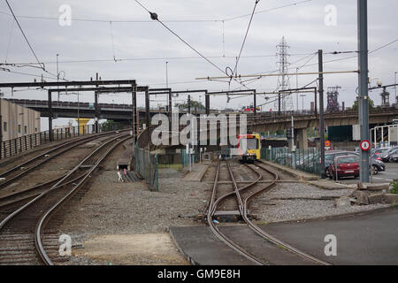 Charleroi Sud Metro Flyover & Sidings, Belgium -1 - Stock Image