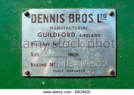 Manufacturer's plate - Dennis Brother's Ltd, identification plate for a vintage 24 inch petrol engine lawn mower. - Stock Image