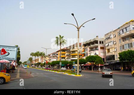 Ataturk bulvari, Ataturk boulevard, main street, Alanya, Turkey, Eurasia - Stock Image