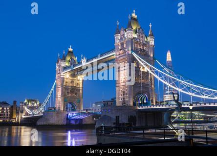 Tower Bridge and The Shard at twilight London - Stock Image