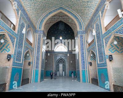 Yazd Jameh mosque decorated interior, Iran - Stock Image