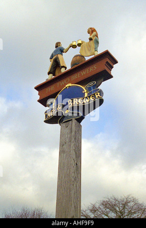 The Two Brewers Public House Inn Sign, Chipperfield, Hertfordshire - Stock Image