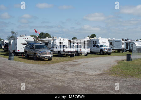 Trucks and campers parked on fairgrounds in Lindsay Ontario Canada - Stock Image