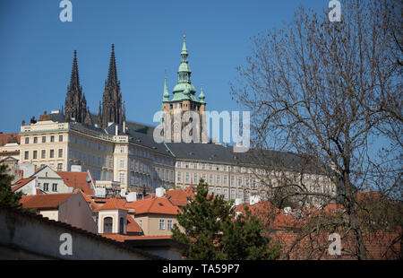Czech Republic, Prague. A Old Town pavement tower and other famous places. Mid shot - Stock Image