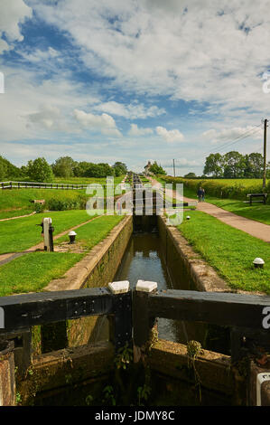 Foxton Locks on the Leicester arm of the Grand Union Canal on a summer evening. - Stock Image