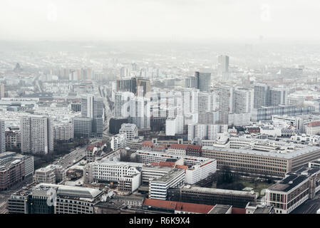 Aerial panoramic view of Berlin city, Germany - Stock Image