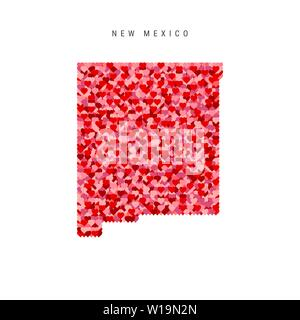 I Love New Mexico. Red Hearts Pattern Vector Map of New Mexico - Stock Image