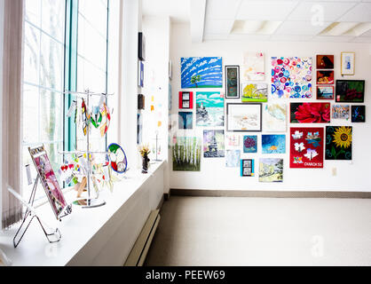 Wall of Art and window of stained glass - Stock Image