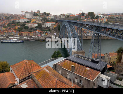 Landmark view of the central Ribeira riverside district of the city of Porto, Portugal, taken from the Dom Luis I Bridge on the River Douro - Stock Image