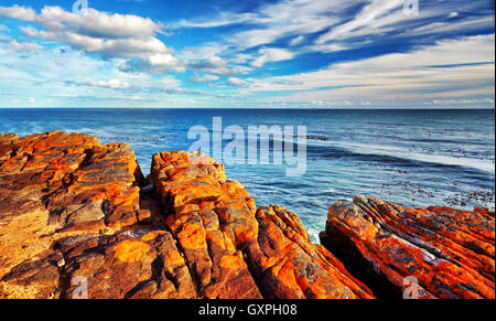 Rocky landscape on the Atlantic coast of the Cape Peninsula, south-western point of the African Continent, Cape - Stock Image